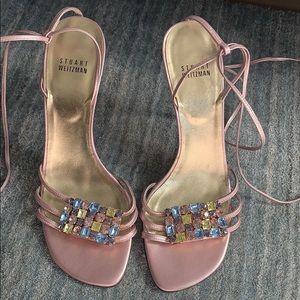 Stuart Weitzman Pink Crystal Lace Up Heels 8